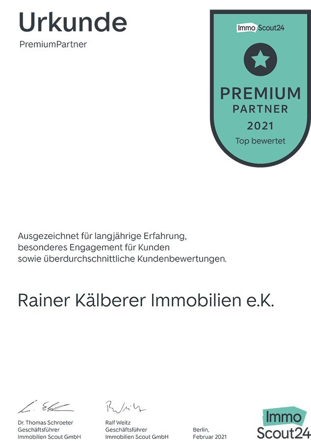 Urkunde Premium Partner IS24 für 2021